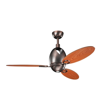 "Kichler 300155OBB Merrick 52"" Indoor Ceiling Fan with 3 Blades, Cool-Touch Remote and Downrod"