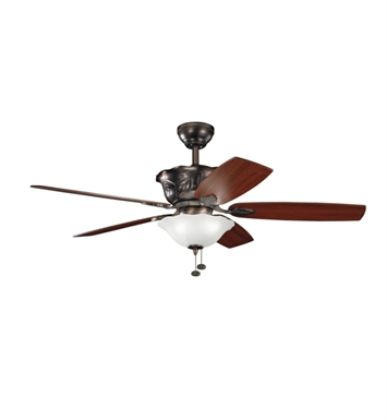"Kichler 300159OBB Tolkin 52"" Indoor Ceiling Fan with 5 Blades, Light Kit and Downrod"