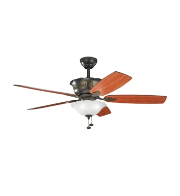"Kichler 300159OZ Tolkin 52"" Indoor Ceiling Fan with 5 Blades, Light Kit and Downrod"