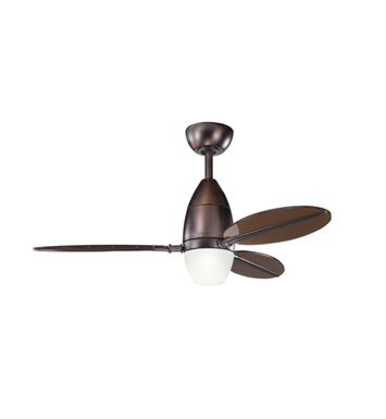 "Kichler 300143OBB Riggs 44"" Indoor Ceiling Fan with 3 Blades, Cool-Touch Remote and Downrod"