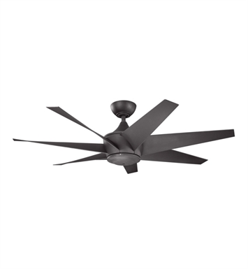 "Kichler 310112DBK Lehr II 54"" Outdoor Ceiling Fan with 6 Blades, Cool-Touch Remote and Downrod"