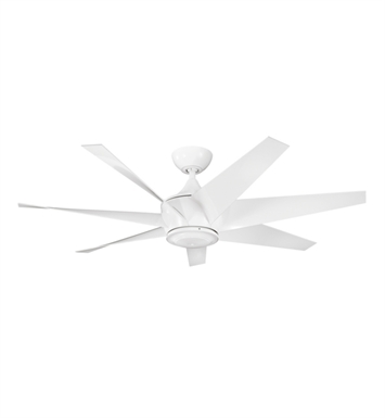 "Kichler 310112WH Lehr II 54"" Outdoor Ceiling Fan with 6 Blades, Cool-Touch Remote and Downrod"