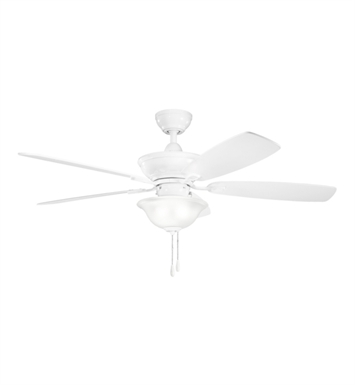 "Kichler 300177WH Frezno 52"" Indoor Ceiling Fan with 5 Blades, Cool-Touch Remote and Downrod"