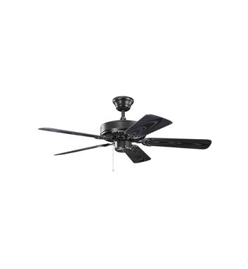 "Kichler 414SBK Basics Revisited 42"" Indoor Ceiling Fan with 5 Blades and Downrod"