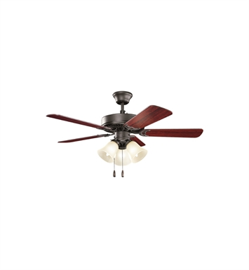 "Kichler 413SNBU Basics Revisited 42"" Indoor Ceiling Fan with 5 Blades, Light Kit and Downrod"