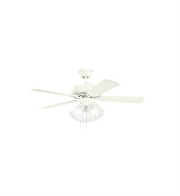 "Kichler 413SNW Basics Revisited 42"" Indoor Ceiling Fan with 5 Blades, Light Kit and Downrod"