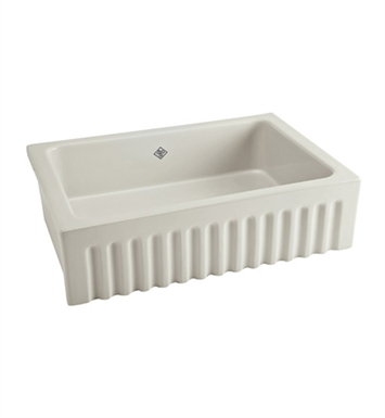 Rohl RC3223BS Shaws Apron Front Fireclay Fluted Kitchen Sink in Biscuit