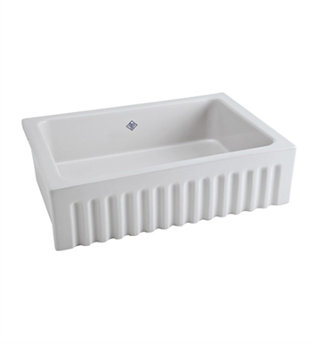Rohl RC3223WH Shaws Apron Front Fireclay Fluted Kitchen Sink in White