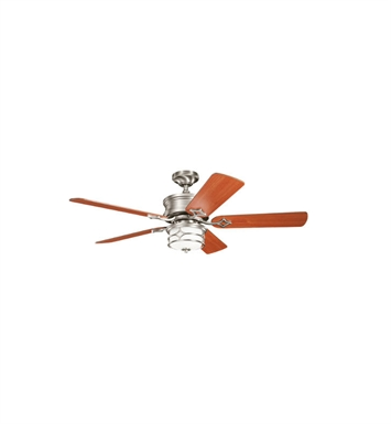 "Kichler 300001NI Chicago 52"" Indoor Ceiling Fan with 5 Blades, Cool-Touch Remote and Downrods"