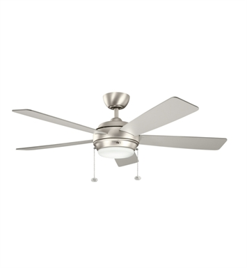 "Kichler 300173NI Starkk 52"" Indoor Ceiling Fan with 5 Blades, Light Kit and Downrod"