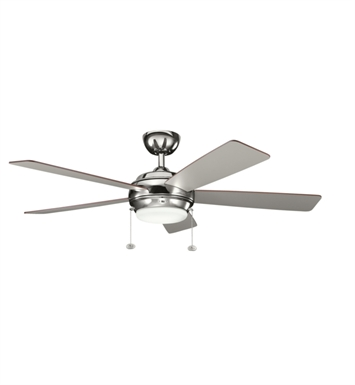 "Kichler 300173PN Starkk 52"" Indoor Ceiling Fan with 5 Blades, Light Kit and Downrod"