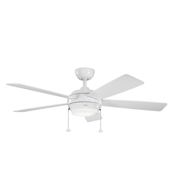 "Kichler 300173WH Starkk 52"" Indoor Ceiling Fan with 5 Blades, Light Kit and Downrod"