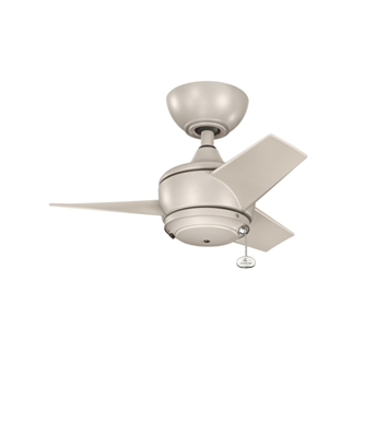 "Kichler 310124ANS Yur 24"" Outdoor Ceiling Fan with 3 Blades and Downrod"