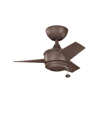 "Kichler 310124CMO Yur 24"" Outdoor Ceiling Fan with 3 Blades and Downrod"