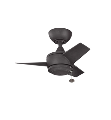 "Kichler 310124DBK Yur 24"" Outdoor Ceiling Fan with 3 Blades and Downrod"
