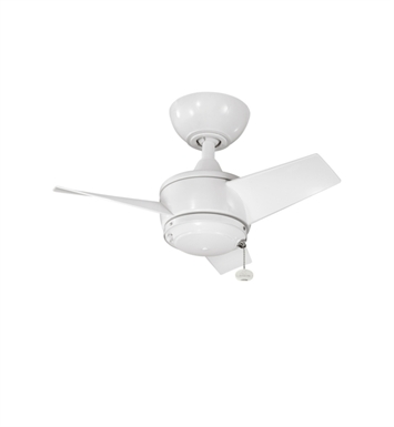 "Kichler 310124WH Yur 24"" Outdoor Ceiling Fan with 3 Blades and Downrod"