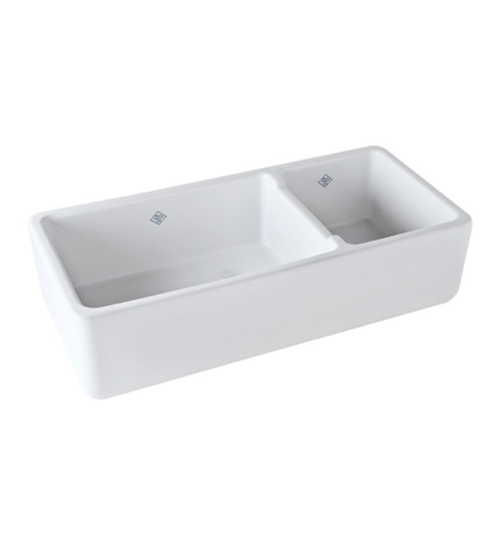 Bib Sink : Rohl RC4019WH Shaws Apron Front Fireclay Kitchen Sink in White