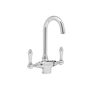 Rohl A1667LP-STN Single Hole C-Spout Country Bar Faucet With Finish: Satin Nickel And Handles: Porcelain Lever Handles