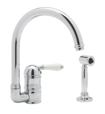 "Rohl A3606-6.5WS Country Kitchen 6 1/2"" Deck Mounted C-Spout Bar/Food Prep Faucet with Sidespray"