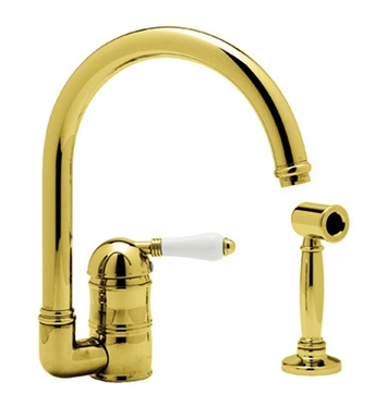 Rohl A3606-6.5WSLP-TCB Country Bar Faucet With Sidespray With Finish: Tuscan Brass <strong>(SPECIAL ORDER, NON-RETURNABLE)</strong> And Handles: Porcelain Lever Handles