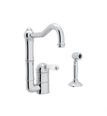 "Rohl A3608-6.5WS Country Kitchen 6 1/2"" Deck Mounted C-Spout Bar/Food Prep Faucet with Sidespray"