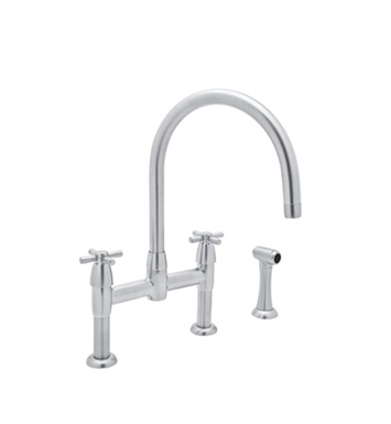 Rohl U-4272-STN Contemporary Bridge Kitchen Faucet With Sidespray With Finish: Satin Nickel
