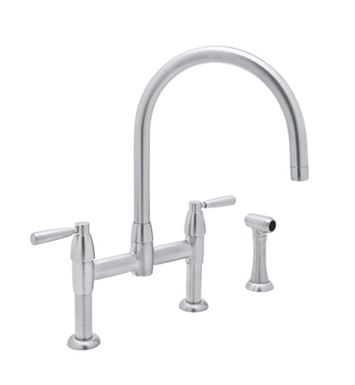 Rohl U-4273-STN Contemporary Bridge Kitchen Faucet With Sidespray With Finish: Satin Nickel