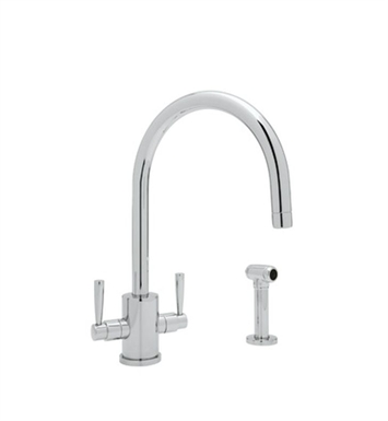 "Rohl U-4312-APC Single Hole ""C"" Spout Kitchen Faucet With Sidespray With Finish: Polished Chrome"