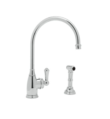 Rohl U-4702-PN Single Hole Kitchen Faucet With Sidespray With Finish: Polished Nickel