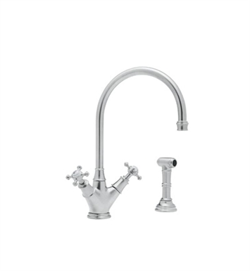 Rohl U-4707-STN Single Hole Kitchen Faucet With Sidespray With Finish: Satin Nickel