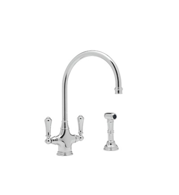 Rohl U-4710-APC Single Hole Kitchen Faucet With Sidespray With Finish: Polished Chrome