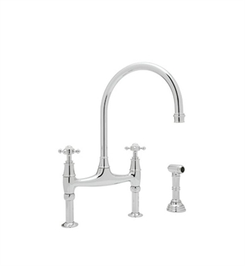 Rohl U-4718-APC Bridge Kitchen Faucet With Sidespray With Finish: Polished Chrome