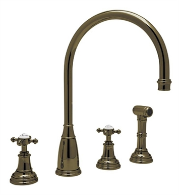 Rohl U-4735-STN 4–Hole C-Spout Kitchen Faucet With Finish: Satin Nickel