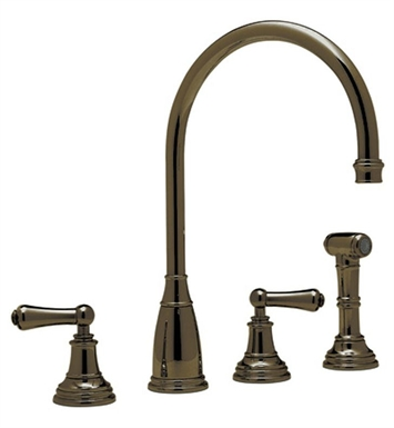 Rohl U-4736-STN 4–Hole C-Spout Kitchen Faucet Wtih Metal Lever Handles With Finish: Satin Nickel