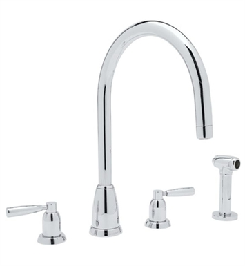 Rohl U-4891-STN Contemporary 4–Hole C-Spout Kitchen Faucet Wtih Sidespray With Finish: Satin Nickel