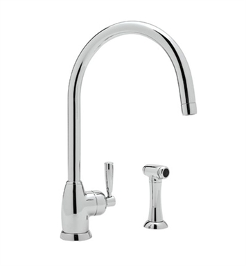 "Rohl U-4846-STN Contemporary Single Hole Kitchen Faucet With ""C"" Spout And Sidespray With Finish: Satin Nickel"