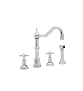 Rohl U-4775-PN 4–Hole Kitchen Faucet Wtih Sidespray With Finish: Polished Nickel