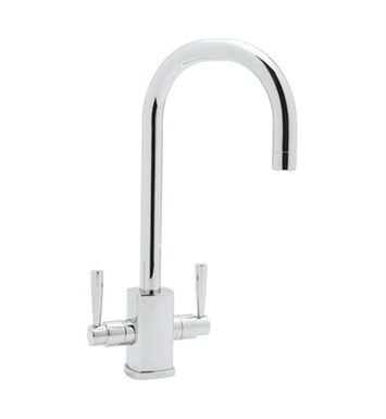 "Rohl U-4209-STN Contemporary Single Hole Bar Faucet With Square Body And ""C"" Spout With Finish: Satin Nickel"