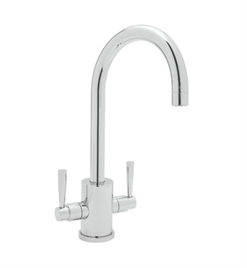 "Rohl U-4213-STN Contemporary Single Hole Bar Faucet With Round Body And ""C"" Spout With Finish: Satin Nickel"