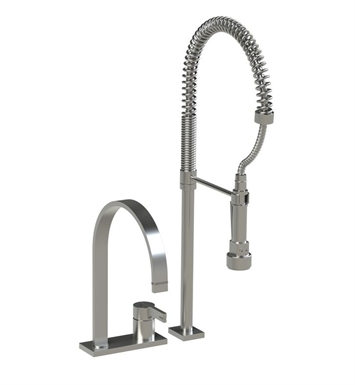 Rubinet 8IRTLSNMW R10 Single Control Kitchen Faucet with Suspended Industrial Spray With Finish: Main Finish: Satin Nickel | Accent Finish: Matt White