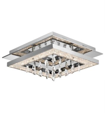 "Elan Lighting 83410 Crushed Ice 1 Light 19 3/4"" Cool White Square LED Flush Mount Ceiling Light in Chrome Finish"
