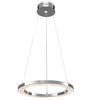 "Elan Lighting 83435 Crushed Ice 2 Light 24"" Warm White LED Circular Pendant in Chrome Finish"