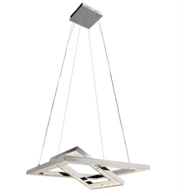 "Elan Lighting 83412 Crushed Ice 2 Light 27 1/2"" Warm White LED Pendant in Chrome Finish"