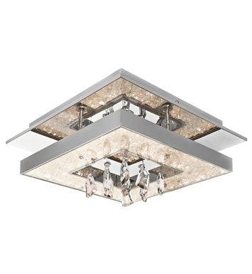 Elan Lighting 83411 Crushed Ice™ Ceiling Flushmount Light in Chrome Finish
