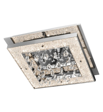 Elan Lighting 83430 Crushed Ice™ Ceiling Flushmount Light in Chrome Finish