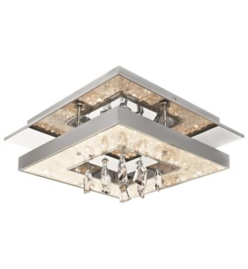 "Elan Lighting 83431 Crushed Ice 1 Light 13 3/4"" Warm White LED Flush Mount Ceiling Light in Chrome Finish"