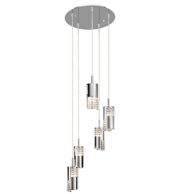 Elan Lighting 83176 Daudet™ 5-Light Spiral Mini Pendant in Chrome Finish