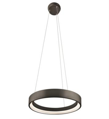 "Elan Lighting 83453 Fornello 1 Light 17 3/4"" LED Ring Pendant in Sand Textured Black Finish"