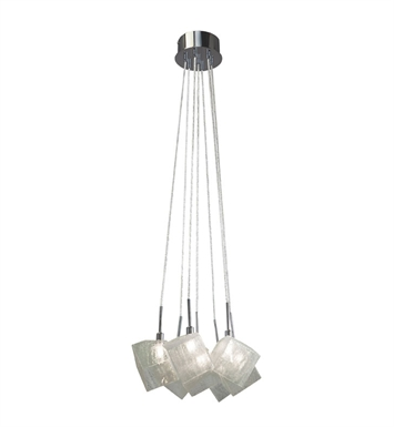 Elan Lighting 83288 Icekubez™ 7-Light Mini Pendant Chandelier in Chrome Finish