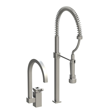 Rubinet 8IICLPNPNJT Ice Single Control Kitchen Faucet with Suspended Industrial Spray With Finish: Main Finish: Polished Nickel | Accent Finish: Polished Nickel And Crystal Accent: Black Crystal Accent